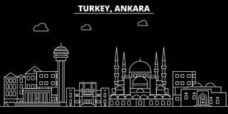 Ankara sylwetki linia horyzontu Turcja, Ankara wektorowy miasto -, turecka liniowa architektura, budynki Ankara podróż Zdjęcie Stock