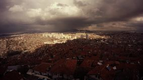 Ankara top view on city big black clouds run and cover town with shadow speedy shooting. Ankara capital of Turkey Cityscape early spring stock video