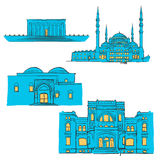 Ankara, Turkey, Colored Landmarks. Scalable Vector Monuments. Filled with Blue Shape and Yellow Highlights Royalty Free Stock Photo