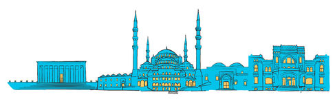 Ankara, Turkey, Colored Panorama. Filled with Blue Shape and Yellow Highlights. Scalable Urban Cityscape Vector Illustration Royalty Free Stock Photo