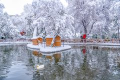 Ankara/Turkey-December 26 2018: Kugulu Park is a popular place to enjoy the day. Kugulu park under snow in winter stock image
