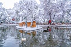 Ankara/Turkey-December 26 2018: Kugulu Park is a popular place to enjoy the day. Kugulu park under snow in winter stock photos