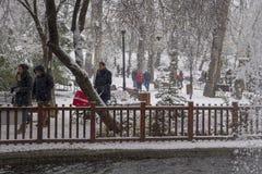 Ankara/Turkey-December 06 2019: Kugulu Park is a popular place to enjoy the day. Kugulu park under snow in winter stock photo