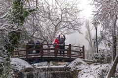 Ankara/Turkey-December 06 2019: Kugulu Park is a popular place to enjoy the day. Kugulu park under snow in winter royalty free stock photo