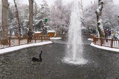 Ankara/Turkey-December 06 2019: Kugulu Park is a popular place to enjoy the day. Kugulu park under snow in winter royalty free stock image