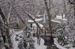 Ankara/Turkey-December 06 2019: Kugulu Park is a popular place to enjoy the day. Kugulu park under snow in winter stock photos