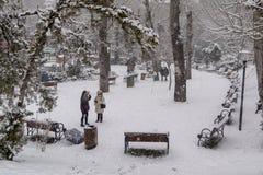 Ankara/Turkey-December 06 2019: Kugulu Park is a popular place to enjoy the day. Kugulu park under snow in winter stock photography