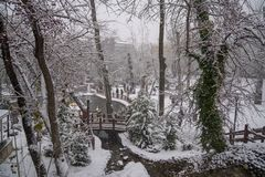 Ankara/Turkey-December 06 2019: Kugulu Park is a popular place to enjoy the day. Kugulu park under snow in winter royalty free stock photography