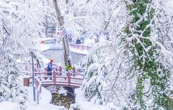 Ankara, Turkey - December 26 2018: Kugulu Park is a popular place to enjoy the day. Kugulu park under snow in winter royalty free stock photography