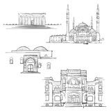 Ankara, Turkey, Famous Buildings. Monochrome Outlined Travel Landmarks, Scalable Vector Illustration Royalty Free Stock Images
