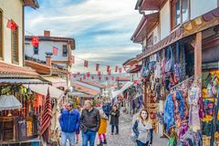 Ankara/Turkey-February 02 2019: Touristic neighborhood for shopping around Ankara Castle stock images