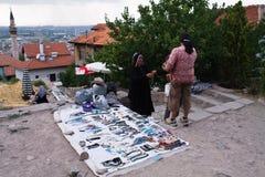 Ankara, Turkey - July 29, 2012: turkish women selling jewelry and leather goods on free street market Royalty Free Stock Photo