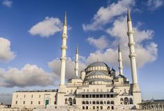 Ankara-Turkey kocatepe mosque lanscape view with blue sky and clouds stock photography