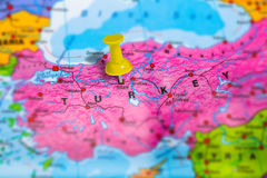 Ankara Turkey map. Ankara capital city in Turkey pinned on colorful political map of europe. Geopolitical school atlas. Tilt shift effect stock images