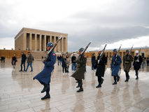 ANKARA, TURKEY - March 10, 2017: Soldiers marching at Anitkabir Stock Image