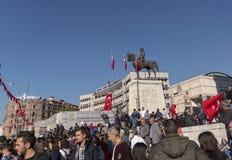 People with Turkish flag near `Statue of Mustafa Kemal Ataturk. Ankara/Turkey- October 29 2018: People with Turkish flag near `Statue of Mustafa Kemal Ataturk` royalty free stock image