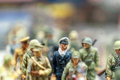 Selective focus vies of tin soldiers in a flea market royalty free stock image