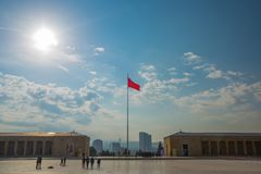 Ankara , Turkey: The square in front of the mausoleum and the Turkish flag. Anitkabir is the mausoleum of the founder of Turkish. Ankara the capital of Turkey stock images