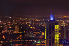 Ankara Turkiet på natten Arkivfoton