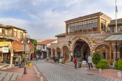 Ankara/Turkije-Juni 16 2019: Toeristische buurt voor het winkelen rond het Kasteel van Ankara met het Museum Muzesi van Rahmi Koc royalty-vrije stock foto