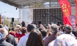 Ankara/Turkije-mag 01 2019: De internationale viering van de Arbeidersdag in het vierkant van Tandogan Anadolu, 1 Mayis Emek ve D stock foto