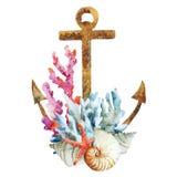 Ankare med koraller Royaltyfri Fotografi