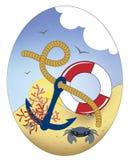 Ankare och maritima teman i ovalen vektor illustrationer