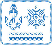 ankaret planlägger den nautiska rodern royaltyfri illustrationer