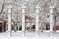 Ankeny fyrkant under snö arkivfoto