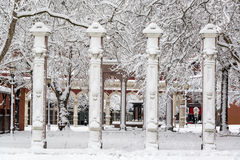 Ankeny Square under Snow Stock Photo