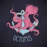 Anker en octopus vector illustratie