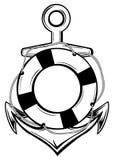Anker en ring-boei Royalty-vrije Stock Afbeelding