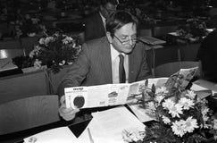 ANKER JORGENSEN- OCH FÖR OLUF-PALME _SOCIAL DEMOKRATER Arkivbilder