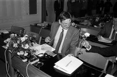 ANKER JORGENSEN UND OLUF PALME _SOCIAL DEMOKRATEN Lizenzfreie Stockfotos