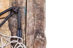 Anker met kabel op steen en raad Stock Afbeelding