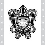 Anker met Zwaardkabel en Vlaggen Overzees Uitstekend Zwart Geïsoleerd Etiket Royalty-vrije Stock Foto