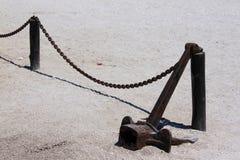 Anker op het zand Stock Afbeeldingen