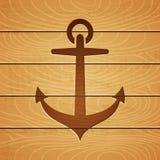 Anker op houten achtergrond Royalty-vrije Stock Foto