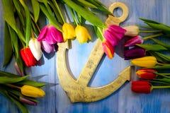 Anker und Tulpen Lizenzfreies Stockbild