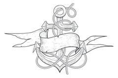 Anker verwirrt mit Seil- und Bandfahne Hand gezeichnete Skizze stock abbildung