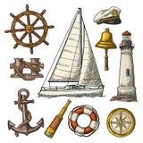 Anker, wiel, varend schip, windroos, kijker, vuurtorengravure stock illustratie