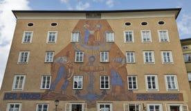 Ankerhouse with huge sundial on Waagplatz in Salzburg, Austria Royalty Free Stock Image