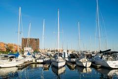 Ankern-Bereiche und Segel-Boote im inneren Hafen-Bereich in Baltimo lizenzfreie stockfotos