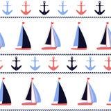 Ankers en zeilboten zeevaart vectorpatroon stock fotografie
