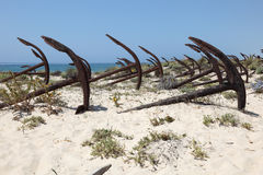 Ankers op het strand Stock Fotografie