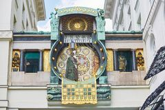 Ankeruhr (ρολόι της Anker), διάσημο αστρονομικό ρολόι στη Βιέννη Στοκ εικόνα με δικαίωμα ελεύθερης χρήσης