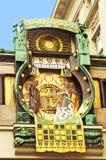 Ankeruhr (Anker zegar), sławny astronomiczny zegar w Wiedeń Obrazy Royalty Free