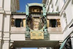 Ankeruhr Anker zegar, sławny astronomiczny zegar w Wiedeń, Aus Obrazy Stock