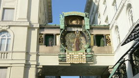 The Ankeruhr clock in Vienna stock footage