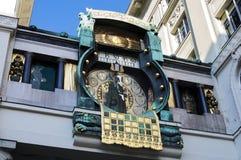 Ankeruhr, orologio astronomico famoso a Vienna fotografia stock libera da diritti